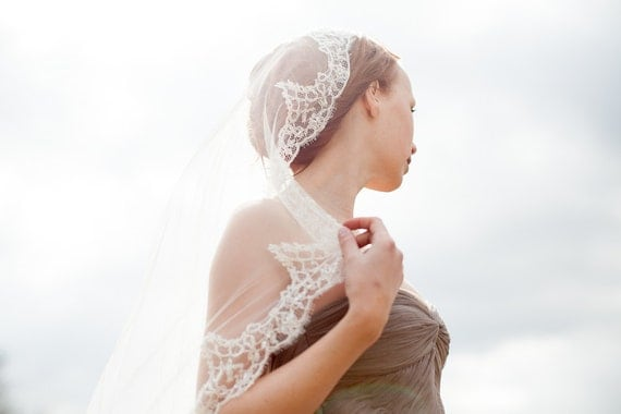 """Wedding hair accessory, Mantilla Bridal Veil, Scalloped Lace - Eternity - 40"""" - Made to Order"""
