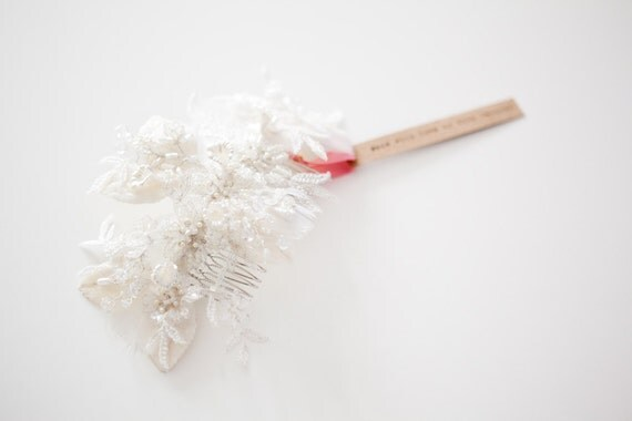 Leaves of Love - Ivory and Silver Bridal Hair piece