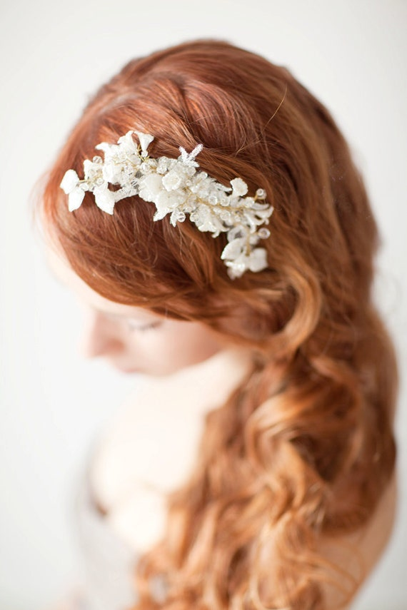 Bridal Fascinator, Head Piece, Bridal hair comb, Wedding Hair Accessory, ivory, gold, lace - Pearls and Twigs