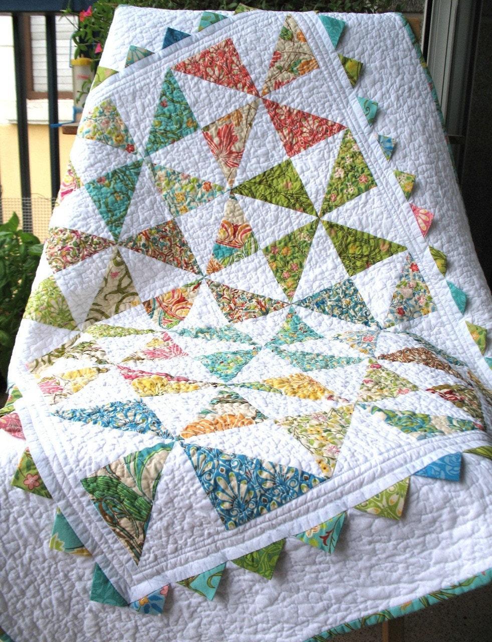 Baby Patchwork Quilt Pinwheels Prairie Points Fresh Moda