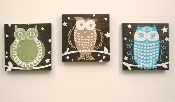 Owls Art - set of 3 on wood - custom choose your own colors