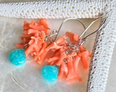 Sterling Silver, Coral Branches, and Amazonite Earrings - Coral Cove - One of a Kind - Ready to Ship
