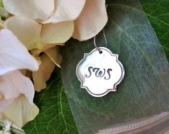 Fine Silver Custom Personalized Pendant Charm for Keepsake Heirloom Necklace - Bride, Wedding, Monogram, Bridesmaids - Bouquet Bling