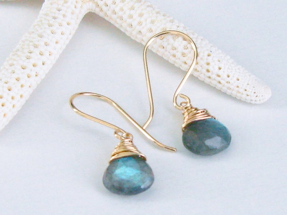 14kt Yellow Gold Fill and Hand Wrapped Labradorite Earring Dangles - Blue Flash