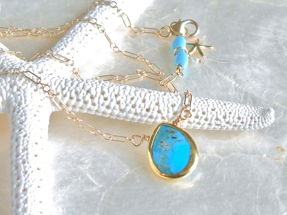 Turquoise, Sleeping Beauty Turquoise and 14kt Yellow Gold Fill Necklace - Happy Tear - Ready to Ship