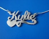 Name Necklace with Swarovski Birthstone, double thick silver, names up to 13 letters