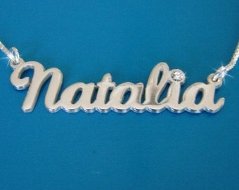 Natalie Style Name Necklace with Swarovski Birthstone, double thick silver, names up to 13 letters