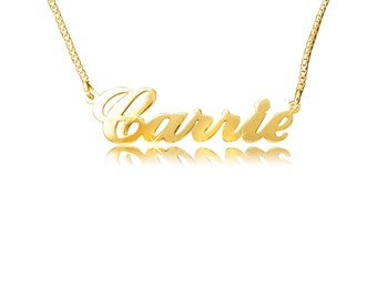 Carrie Gold Name Necklace with your name, any name of your choice, up to 7 letters