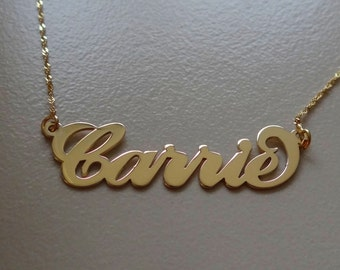 Gold Name Necklace - Personalized Gold Name Necklace - Custom Carrie Name Necklace - Gold Nameplate Necklace