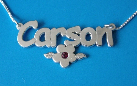 Children Silver Name Necklace with Swarovski Birthstone on the Flower, up to 13 letters, necklace reduced by 20 percent