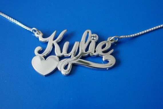 Name Necklace with Swarovski Birthstone and Heart, double thick silver, names up to 13 letters