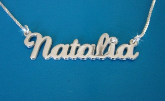 Natalie Style Name Necklace With Swarovski Birthstone Double