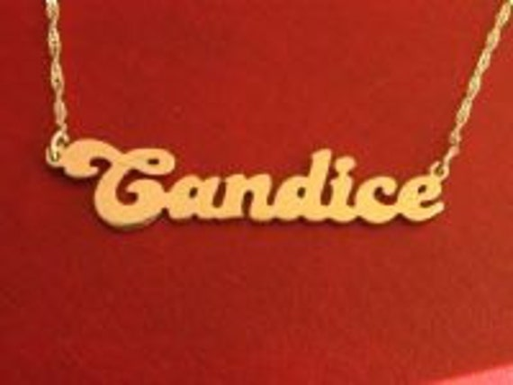 DOUBLE THICK Retro Gold Plated Name Necklace with your name, any name of your choice, name necklaces,