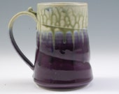 Pottery Mug Large Purple and Fern Green Porcelain by Mark Hudak