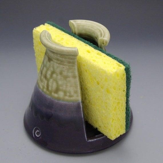 Hand made Pottery sponge holder Fern Green and Purple Sponge Holder by Mark Hudak