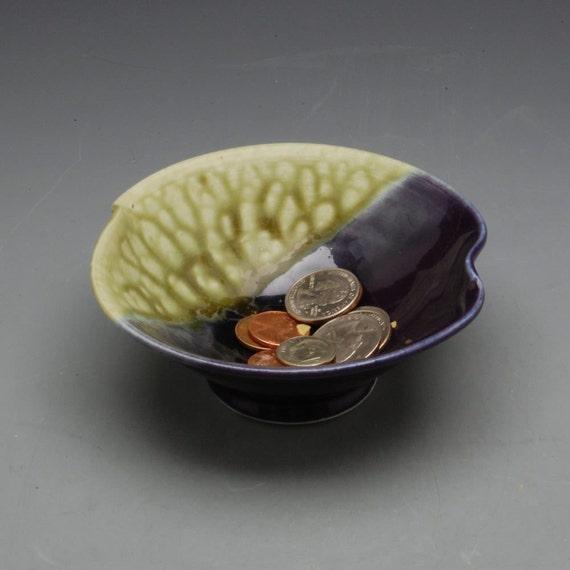 Small Wavy Pottery Bowl Handmade Purple and Fern Green by Mark Hudak