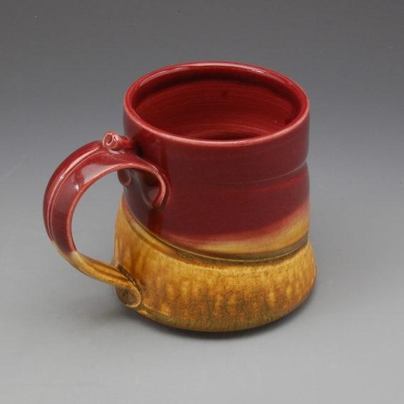 Handmade pottery porcelain mug Cranberry Red and Golden Brown by Mark Hudak