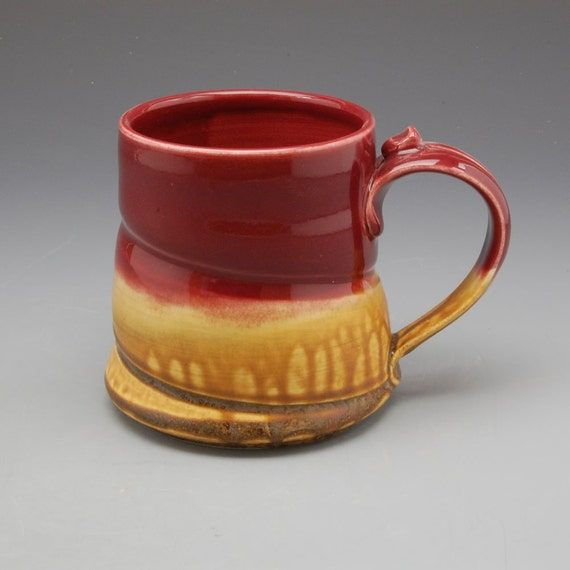 Cranberry Red and Golden Brown Mug