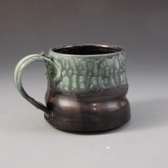 Large Wide Mug - Teal Green, Black