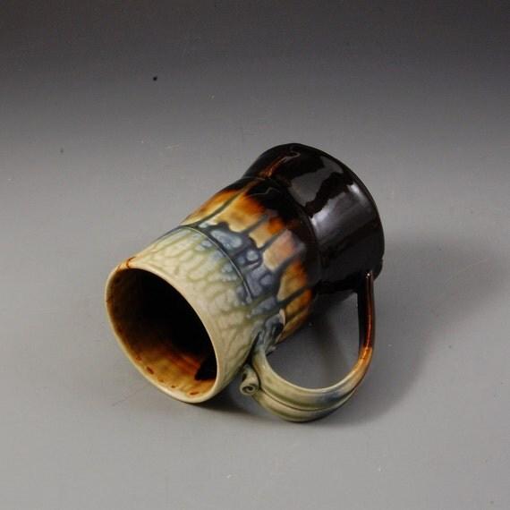 Large Tall Mug Stein Tankard - Dark Brown, Fern Green and Blue Porcelain by Mark Hudak