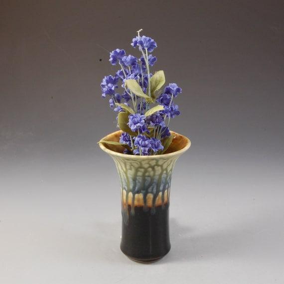 Wall Pocket Flower Vase Small Pottery Porcelain Wheel thrown Dark Ebony Brown Blue Fern by Mark Hudak