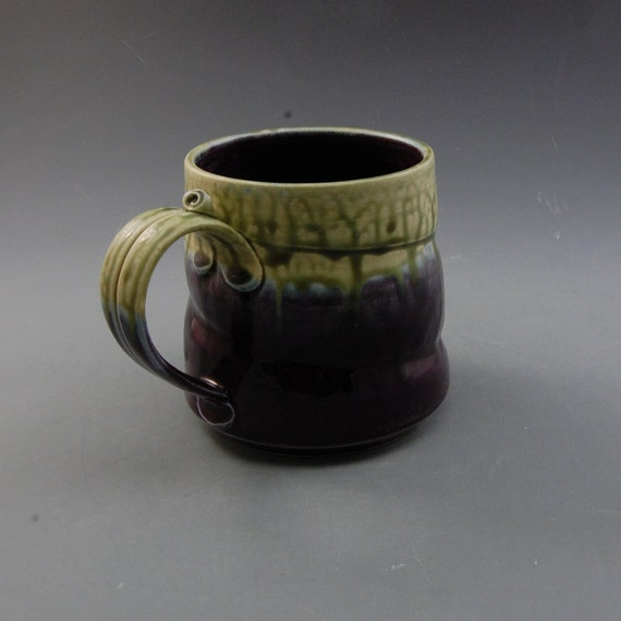 Large Wide Mug  Eggplant Purple and Fern Green handmade porcelain by Mark Hudak