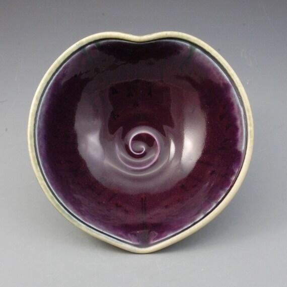 Valentines Heart shaped bowl purple eggplant fern green handmade porcelain by Mark Hudak