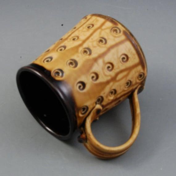 Mug handmade wheel thrown ebony brown golden brown porcelain by Mark Hudak