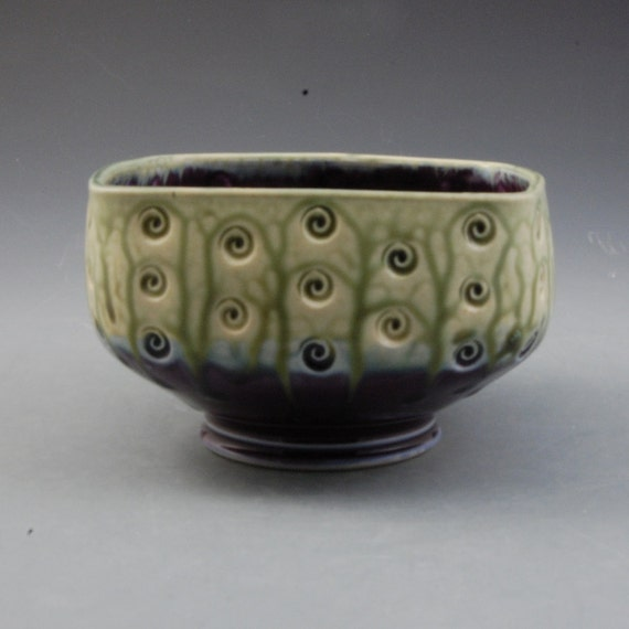 Eggplant Purple and  Fern Green Squared Bowl with stamped decoration