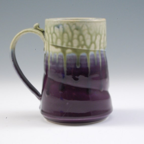 Pottery Mug Large Purple and Fern Green Porcelain by Mark Hudak