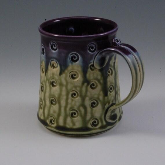 Pottery Mug handmade wheel thrown purple eggplant fern green porcelain by Mark Hudak