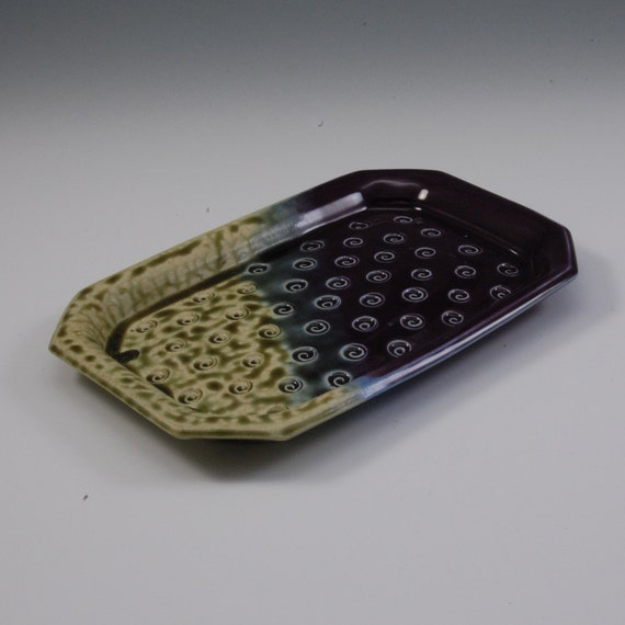 Handmade Porcelain Pottery Textured Tray Eggplant Purple Fern Green   Handmade -Porcelain  by Mark Hudak
