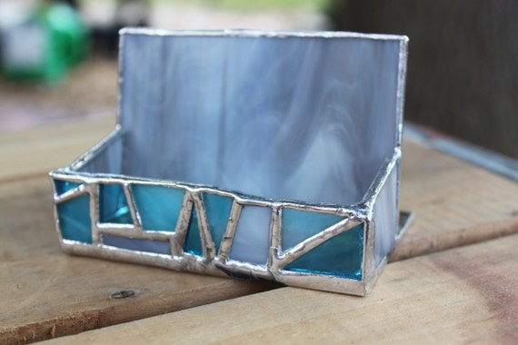 Blue and Gray Mosaic business card holder