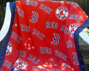 Cuddle Me Blanket Red Sox Baseball in Red Fleece