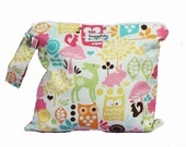 Wet Bag with Waterproof Lining and Zipper Opening - Woodland Owls - FAST SHIPPING