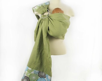Linen Banded Ring Sling Baby Carrier in Spa Fizz - Instructional DVD Included - FAST SHIPPING