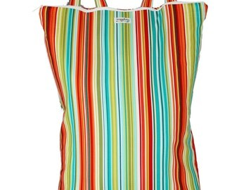 Wet Bag Hanging Diaper Pail Laundry Bag- Caribbean Stripe - FAST SHIPPING