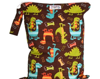 Large Wet Bag with Waterproof Lining  and Snap Open Handle - Dino Dudes - FAST SHIPPING