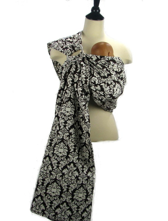 Baby Sling Ring Sling Baby Carrier - Espresso Damask - Instructional DVD Included - FAST SHIPPING