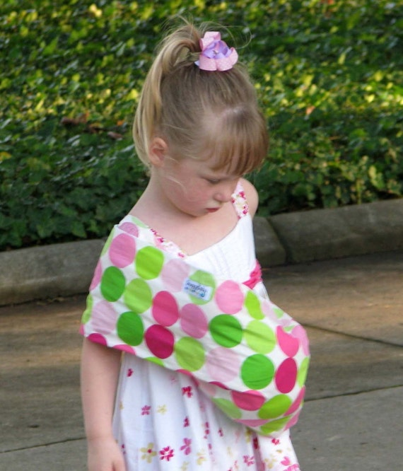 LARGE Baby Doll Carrier Child's Toy Pouch Sling - Girly Dot - FAST SHIPPING