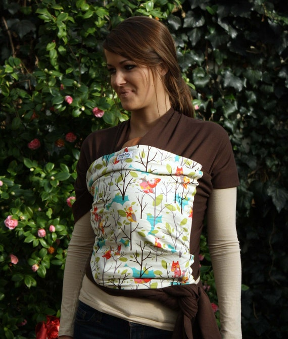 Baby Wrap Baby Carrier Stretchy Wrap Baby Sling - Whoo Forest - Instructional DVD Included - FAST SHIPPING