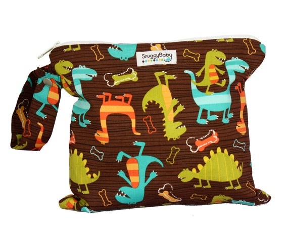 Wet Bag / Indestructable PUL - Dino Dudes - For Cloth Diapers, Mama Cloth, Wet Swimsuits etc - Diaper Bag Essential - Great Baby Shower Gift