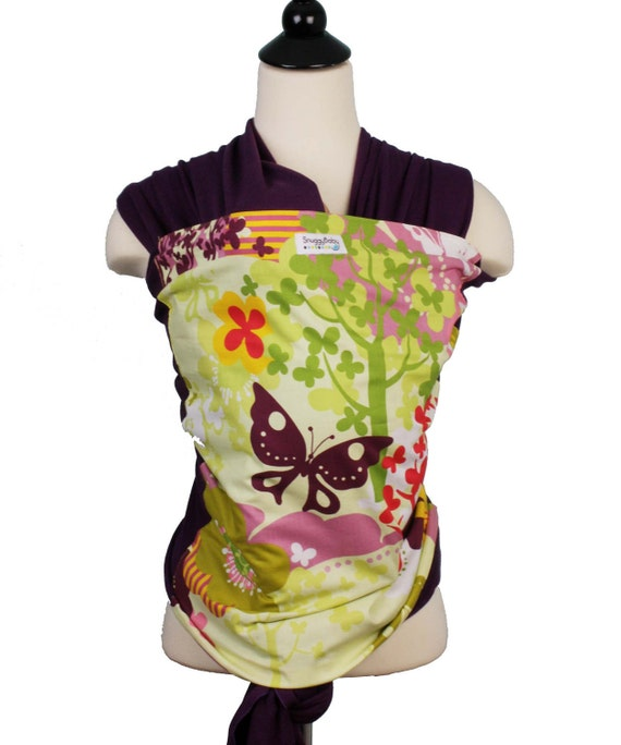 Purple Stretchy Wrap Baby Carrier- Flutter - Baby Wrap Baby Sling - Supports babies 8-35 lbs. w/o Sagging - Custom Fit Every Time