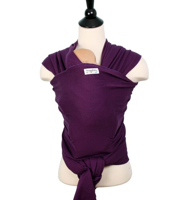 Wrap Style Baby Carrier Stretchy Wrap Baby Sling  - Purple Plum - FAST SHIPPING - Instructional DVD Included - Custom Fit Every Time