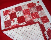 Valentine Mini Quilt Red and White Fabrics  by SEW FUN QUILTS Table Runner, Doll Quilt