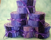 Purple Quilt Fabric Strips - Purple Jelly Roll-  2 1/2 inch wide quilt strips - by SEW FUN QUILTS Time Saver Kit