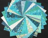 Aqua Quilt Fabric Charm Squares - Turquoise Aqua Teal - SEW FUN QUILTS Time Saver Quilt Kit