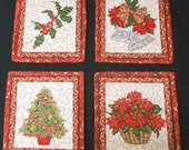 4 Christmas Mug Rugs  - Quilted Candle Mats Quilts - Snack Mats