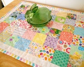 Easter Spring Quilt Table Topper, Table Runner - Bunny Rabbits - Jelly Beans - Easter Baskets