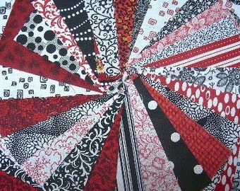 Red, Black and White Quilt Fabric Squares  - SEW FUN QUILTS Time Saver Quilt Kit